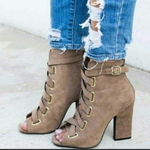 Qupid taupe lace-up booties